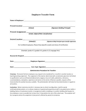 employee transfer form email signature exles forms and templates fillable