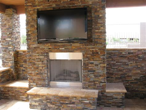 stacked stone ledger panel contemporary patio other