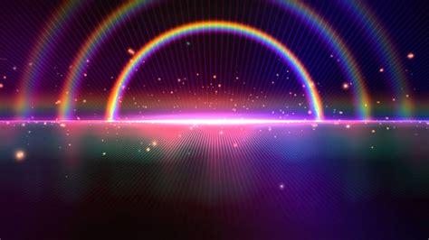 tripple rainbow sparkling space horizon beautiful