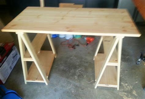Diy Sawhorse Desk White 1x3 Whitewashed Sawhorse Desk Diy Projects
