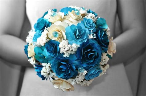 wedding bouquet blue blue wedding bouquets made of wood paper corn husk and