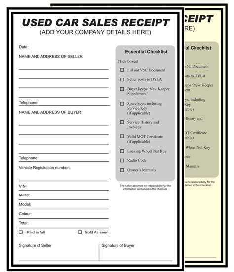 used car receipt template used car sales invoice template car sale receipt template
