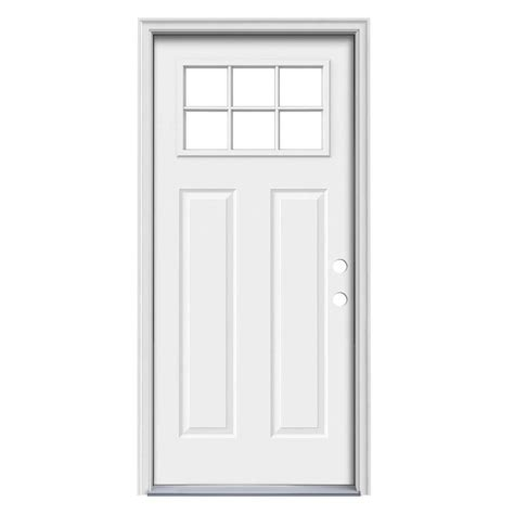 Prehung Steel Exterior Doors Shop Reliabilt Craftsman Simulated Divided Light Left Inswing Primed Steel Prehung Entry