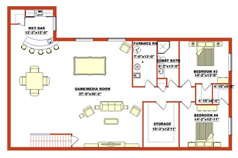 basement design plans lovely basement blueprints finished walk out basement