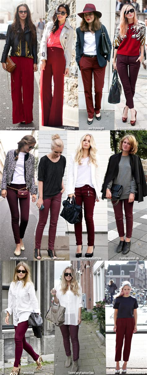 what looks good with red burgundy pants look of the week lena penteado