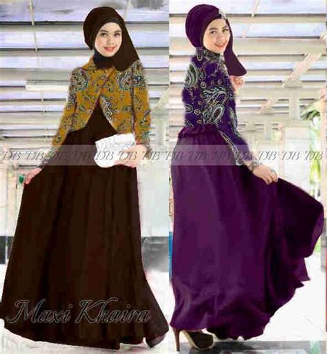 Gamis Blazer Wolfis Batik Katun Silk Dress Maxi Dress gamis blazer khaira p801