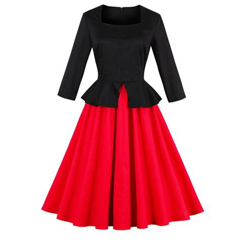 a line swing dress elegant women square neck 3 4 length sleeve a line swing