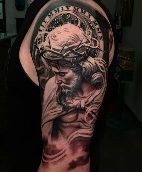 3d tattoo of jesus 3d jesus tattoo on man left half sleeve by daniel rocha
