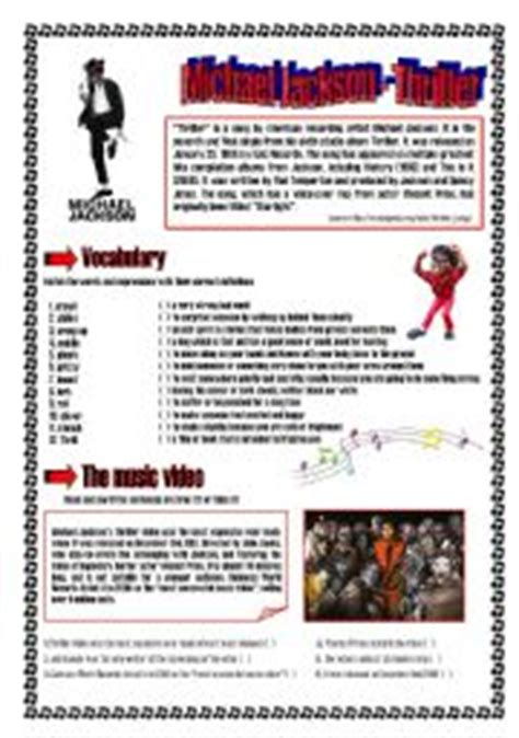 michael jackson biography for esl students english teaching worksheets michael jackson