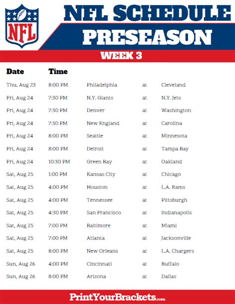printable nfl league schedule printable 2018 nfl preseason schedule