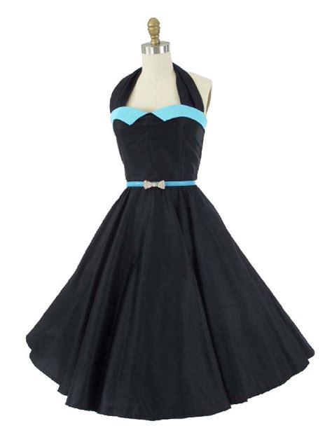 swing style dresses black sateen aqua polka dot halter dress 50s style swing