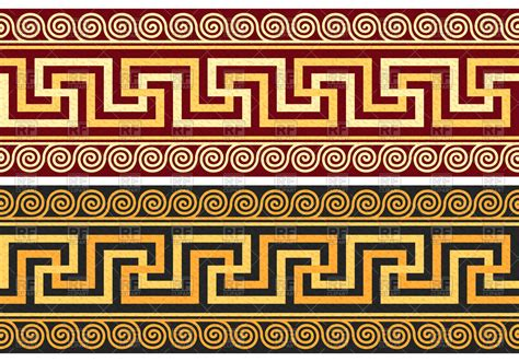greek motif border with classic greek ornament meander vector
