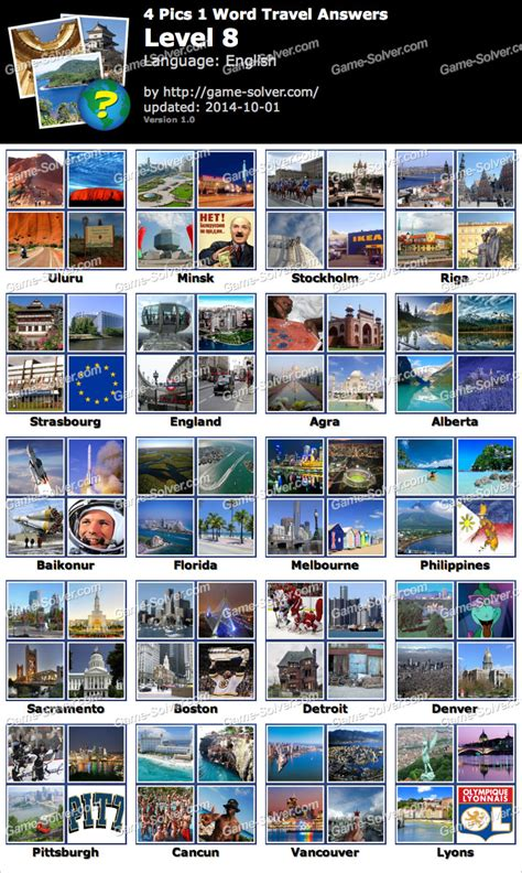 4 In 1 Travel 4 pics 1 word travel level 8 solver