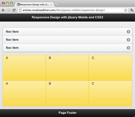 layout view jquery mobile implemente design responsivo com jquery mobile e css3