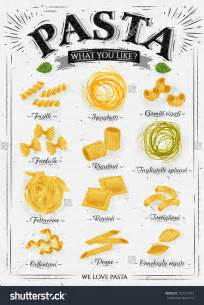 Poster set of pasta with different types of pasta fusilli spaghetti