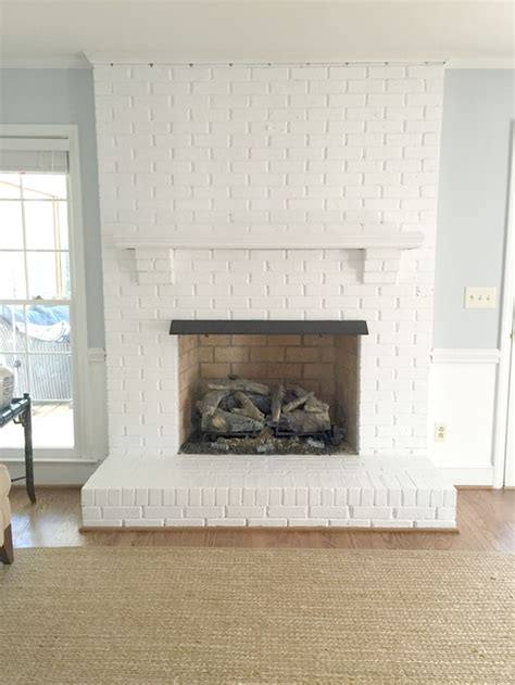 White Brick Fireplace by Painting Our Brick Fireplace White Emily A Clark