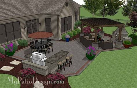 Design My Patio Large Brick Patio Design With Outdoor Fireplace 12 X 16 Cedar Pergola And Grill Station With