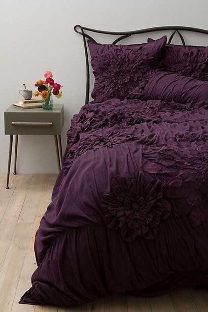 eggplant color comforter new nip anthropologie plum purple georgina dahlia