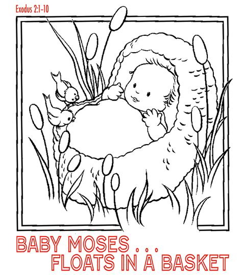coloring pages baby moses basket free christian coloring pages for kids children and