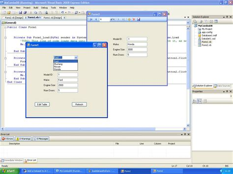 tutorial vb net dataset add a dataset to a combo box to populate textboxes vb net