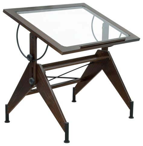 Black Drafting Table Aries Glass Top Table Walnut And Black Drafting Tables By Harvey