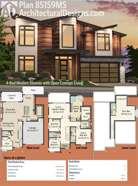modern open plan house designs 213 best modern house plans images on pinterest