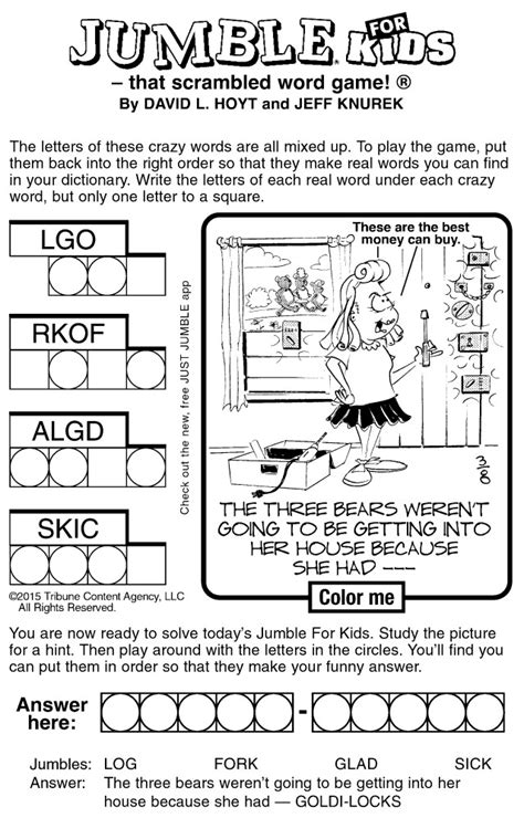 free printable jumble games sle of jumble for kids tribune content agency march