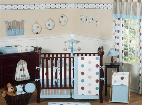 Blue And Brown Modern Polka Dot Baby Bedding 9 Pc Crib Baby Polka Dot Crib Bedding