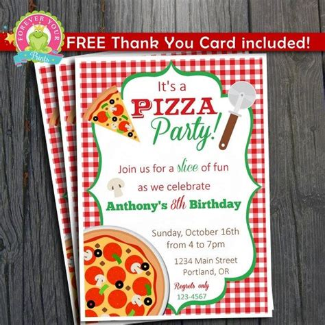 Pizza Birthday Card Template by Pizza Invitation Free Thank You Card Included