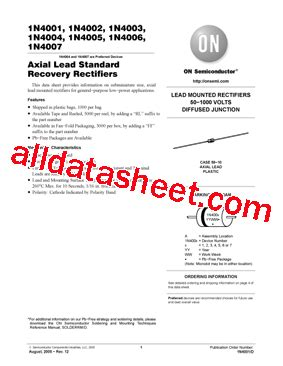 1n4003 diode datasheet 1n4003 datasheet pdf on semiconductor