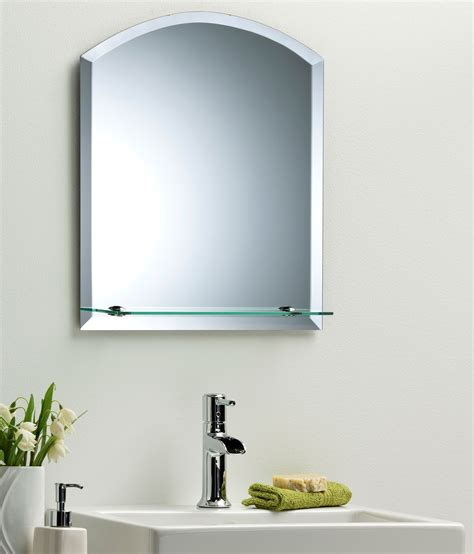 bathroom wall mirrors frameless bathroom wall mirror modern stylish arch with shelf and bevel frameless plain ebay