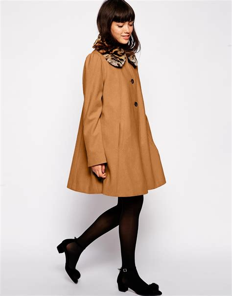swing coat lyst asos swing coat with contrast faux fur collar in