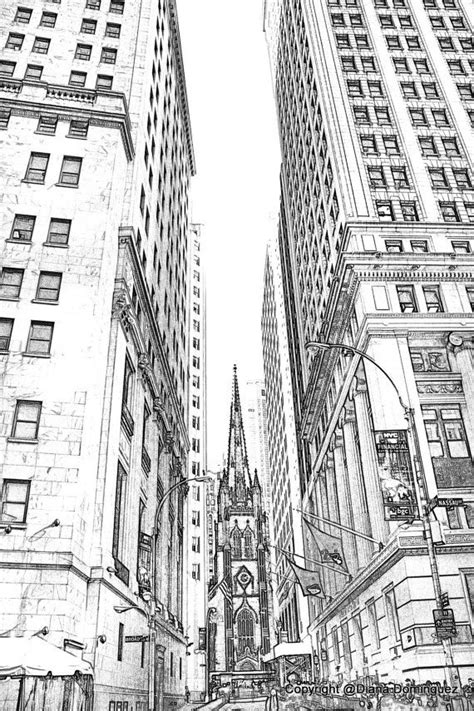 Sketches New York by Lower Manhattan Nyc Sketch 8x10 Drawing New York By Ddfoto