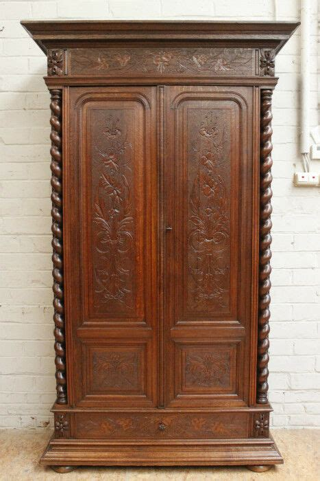 Antique Armoires Wardrobes - 1112044 antique renaissance hunt style 2 door oak