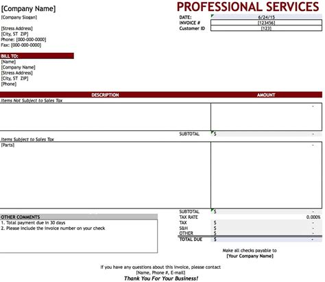 invoice template for services provided free professional services invoice template excel pdf