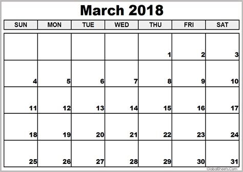 printable calendar for march 2018 march 2018 pdf calendar printable