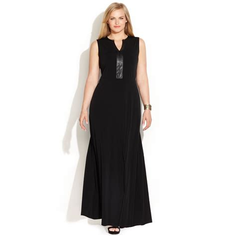 Calvin Maxy calvin klein plus size fauxleathertrim maxi dress in black