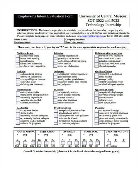 8 employer evaluation form sles free sle exle