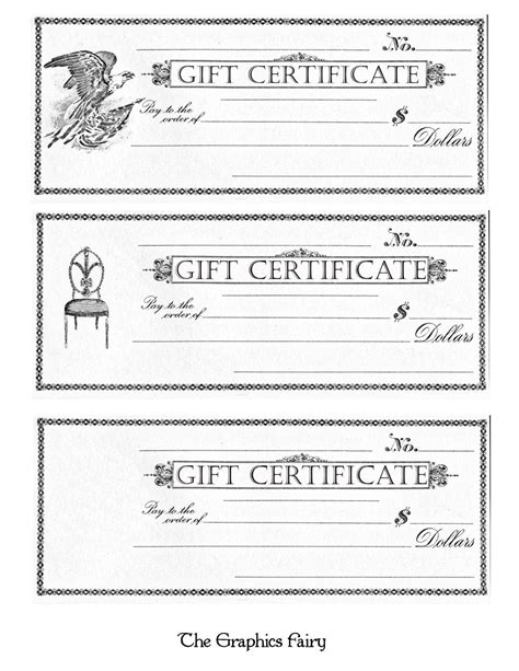 printable gift certificate free printable gift certificates the graphics fairy