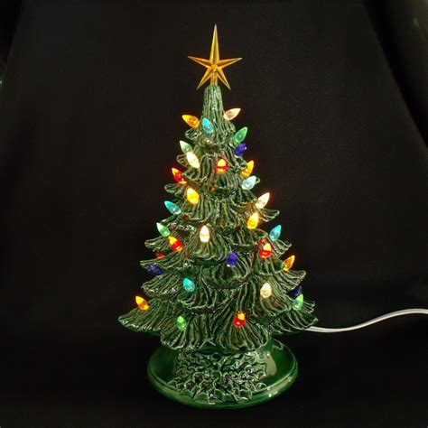 vintage style ceramic christmas tree 11 inches lights