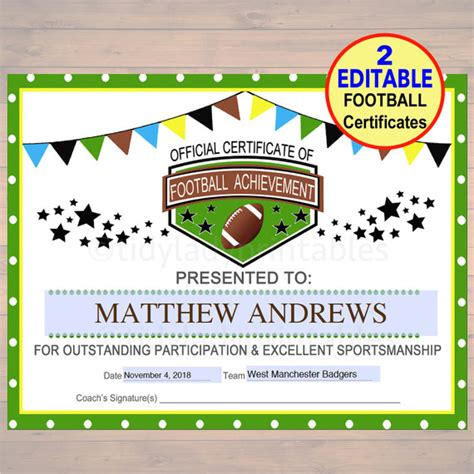football certificates templates editable football award certificates instant team