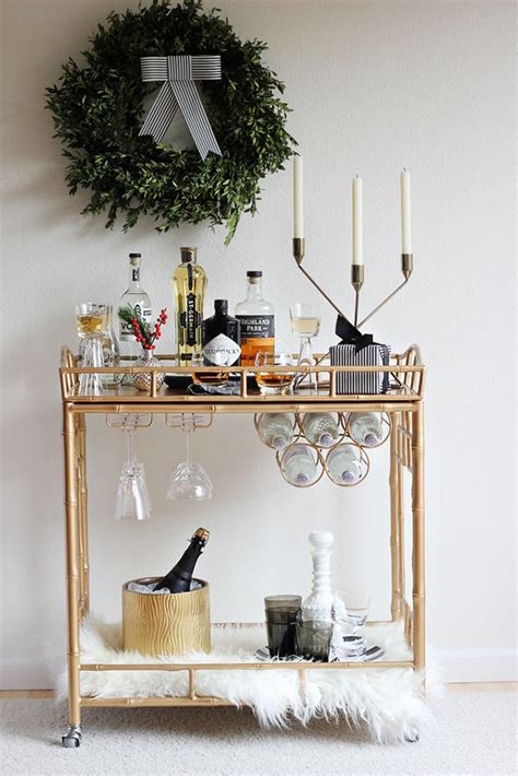 How To Decorate A Bar 15 Ideas For A Festive Bar Cart By
