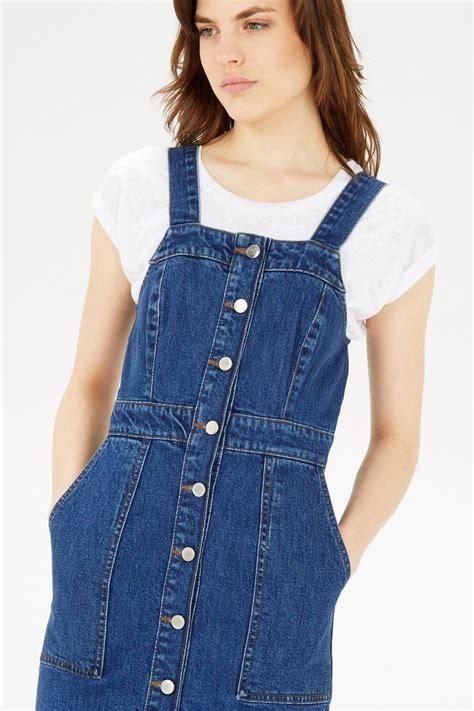 Look Wear Buttons by Warehouse Denim Blue Button Adj Straps Pinafore