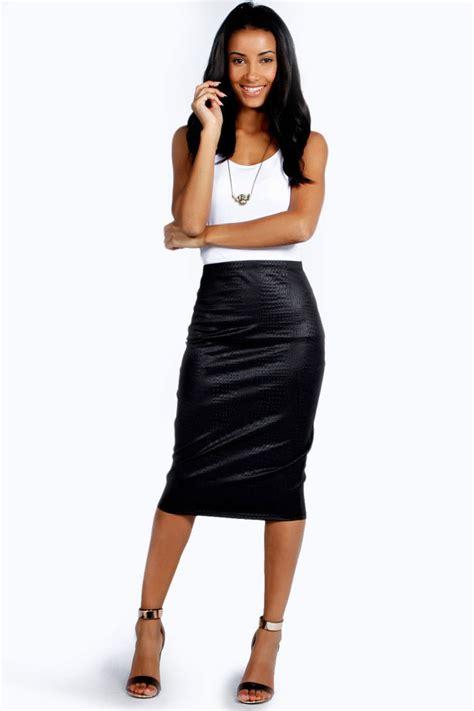 boohoo pu crocodile effect midi skirt where to buy
