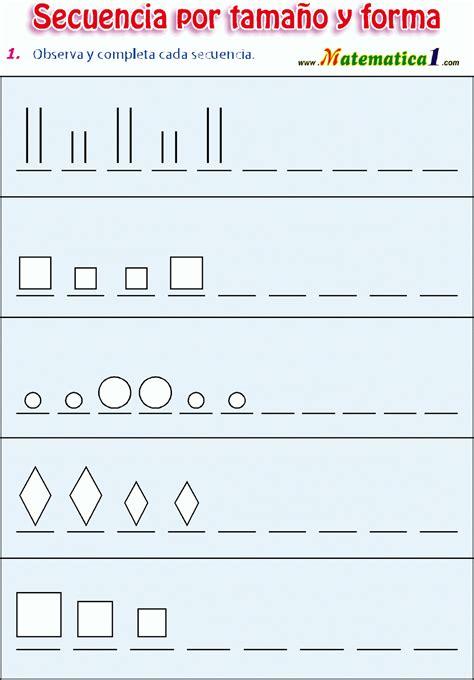imagenes sensoriales de forma y tamaño secuencia por tama 241 o y forma observa y completa la