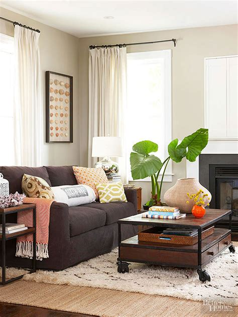 ways  decorate   brown sofa  homes gardens