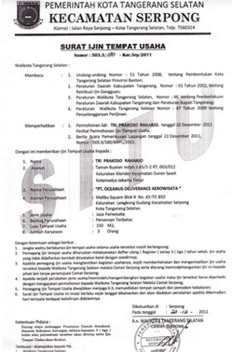 contoh surat izin tempat usaha karambia