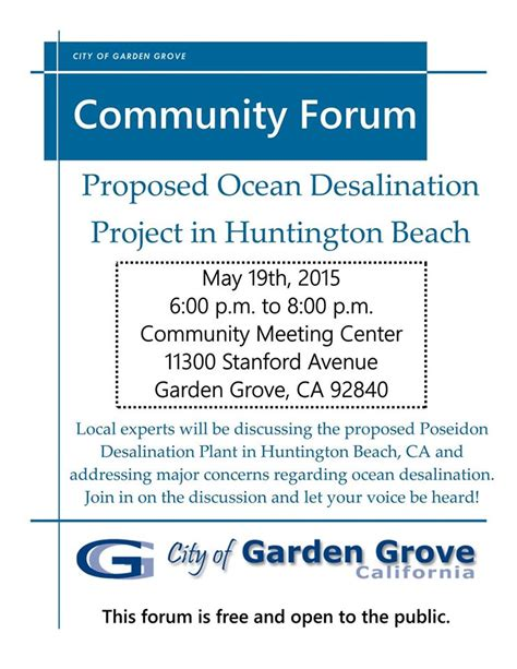 Garden Grove Ca Water Quality Forum On Proposed City Desalination Plant City Of