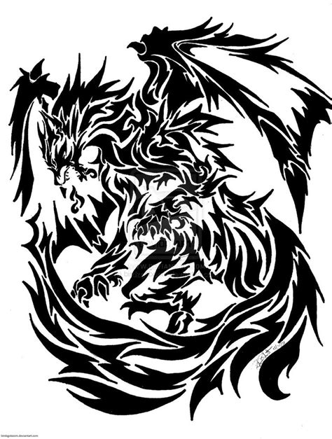 dragon and wolf tattoo design real photo pictures