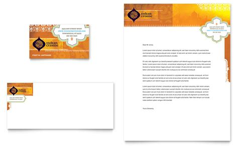 Indian Restaurant Business Card Letterhead Template Word Publisher Restaurant Business Cards Templates Free